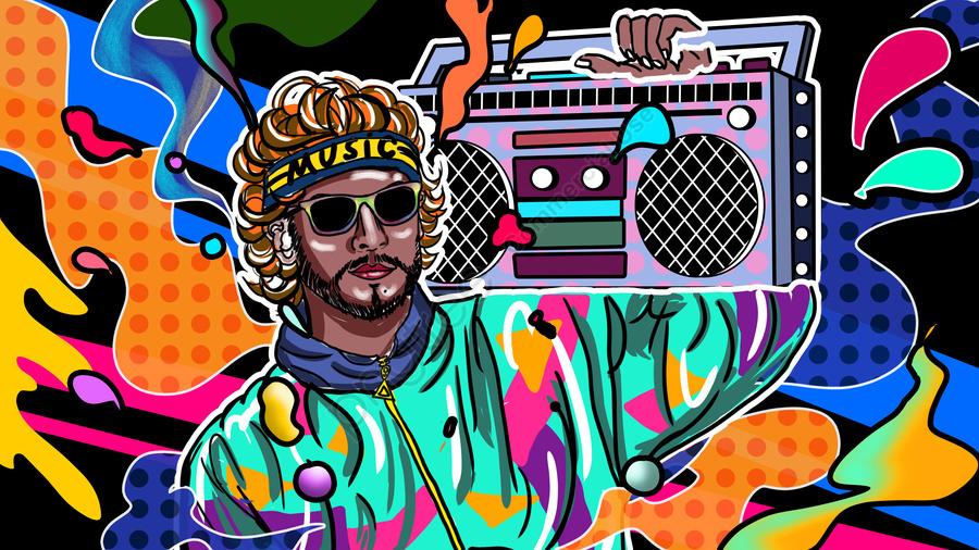 ลูกอมสีมือถือบันทึกเพลงฮิปฮอปผู้ชายพังก์เทรนด์บ้า, สีขนมถือมือถือ, เพลง, วิทยุ llustration image