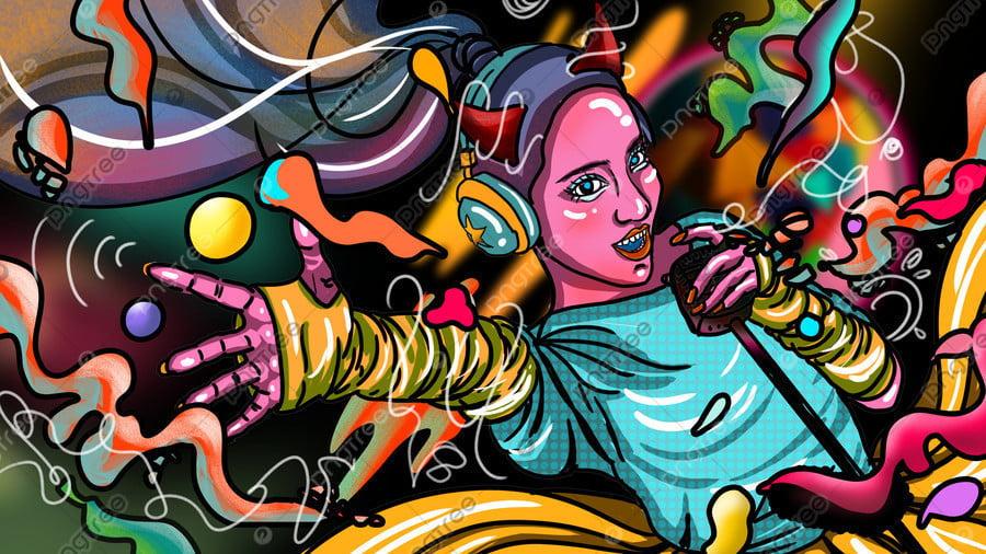Mobile Candy Color Singing Ktv Carnival Crazy Colorful Cool Girl, Mobile Candy Color, Sing, Ktv llustration image