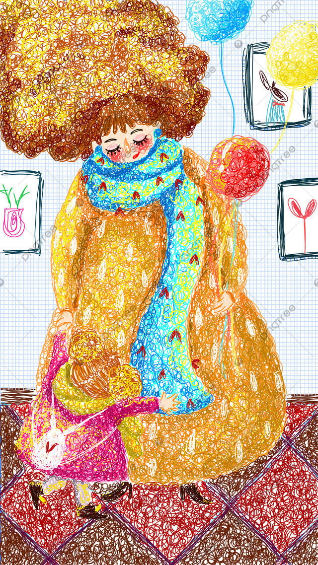 My Mothers Cure Is A Small Fresh Coil Illustration, Mother, Children, Mom llustration image