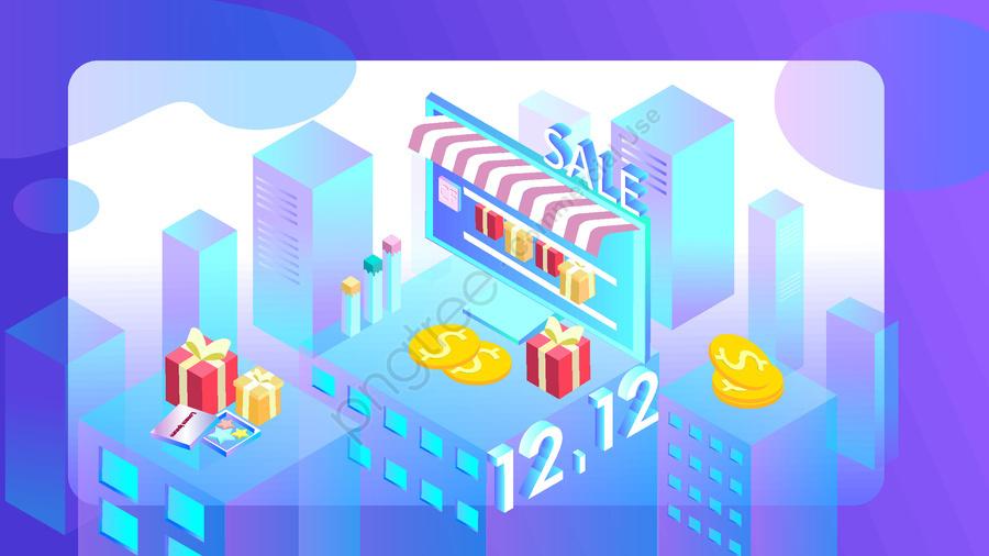 Double 12 Shopping Festival 2 5d Виртуальный иллюстратор сцен, оригинал, Бизнес иллюстрация, Обои постер llustration image