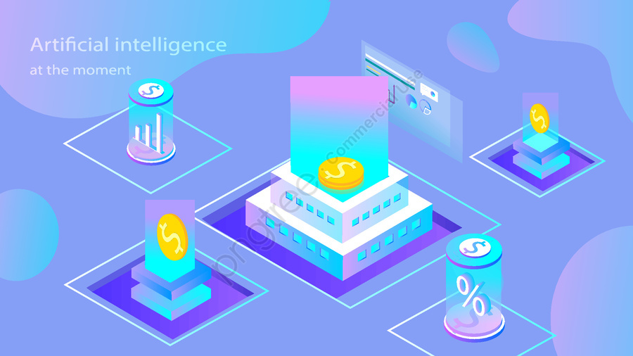 Artificial intelligence 2.5d small fresh breathable illustration, Original, Business Office, Business Use llustration image