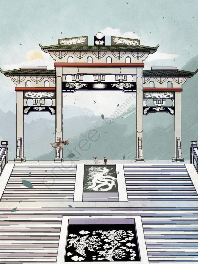 मूल चीनी शैली रेट्रो भवन चित्रण, मूल, चीनी शैली, रेट्रो llustration image