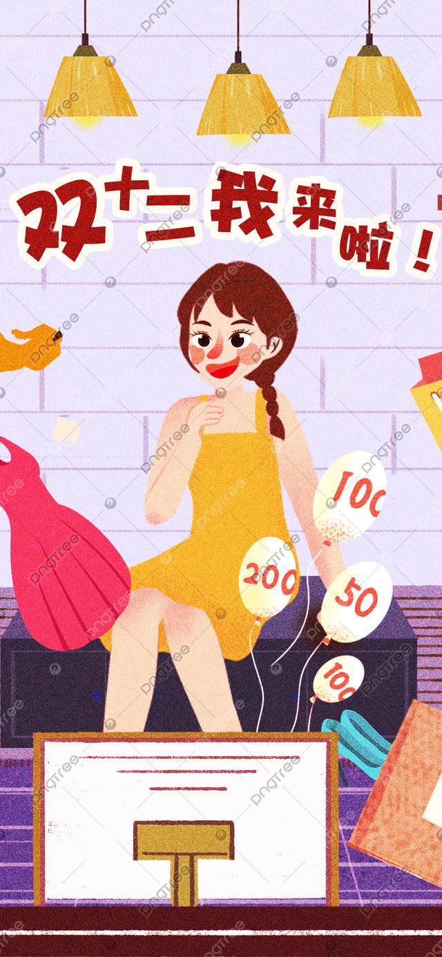 Minh Họa Gốc Mười Hai Lần Mua Sắm, Bản Gốc, Minh Họa, Đôi Mười Hai llustration image