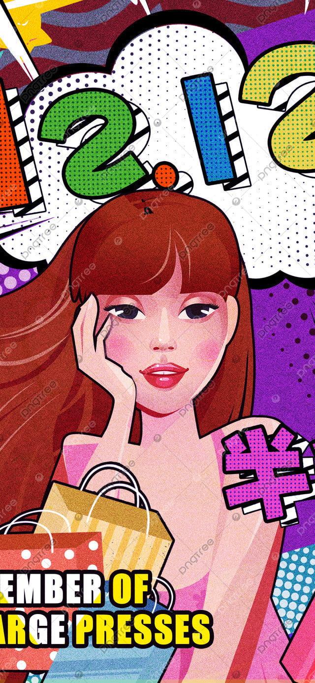 Minh Họa Gốc Mười Hai Trung Tâm Mua Sắm Khuyến Mãi, Bản Gốc, Minh Họa, Đôi Mười Hai llustration image