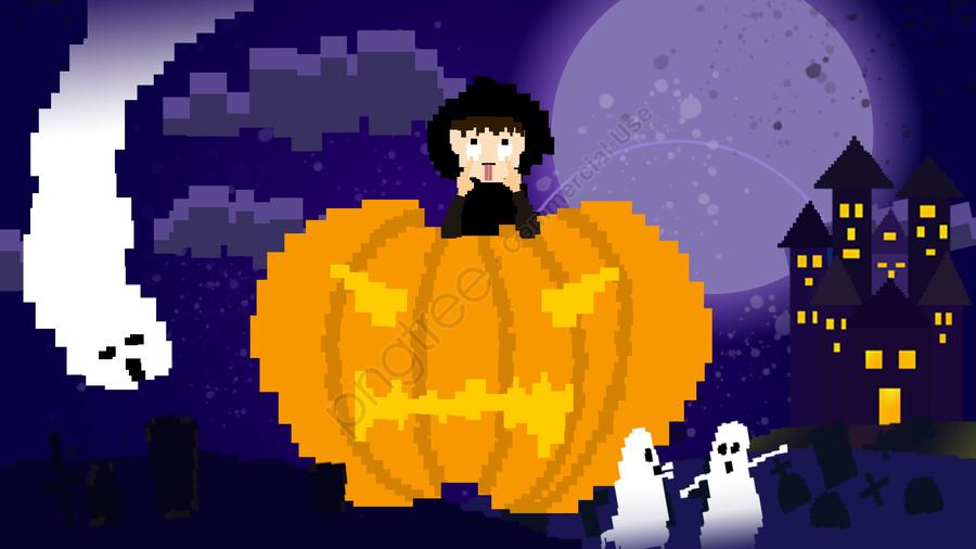 Halloween Pixel Peint Petit Garçon Peinture Au Pixel