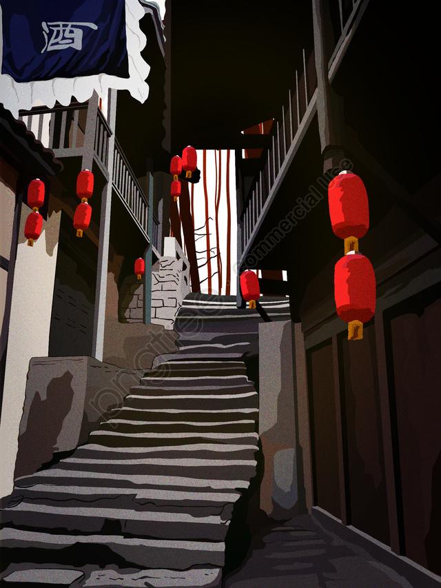 Chinese Ancient Inn Restaurant Celebration Festival In Retro Architecture, Retro, Building, Antiquity llustration image