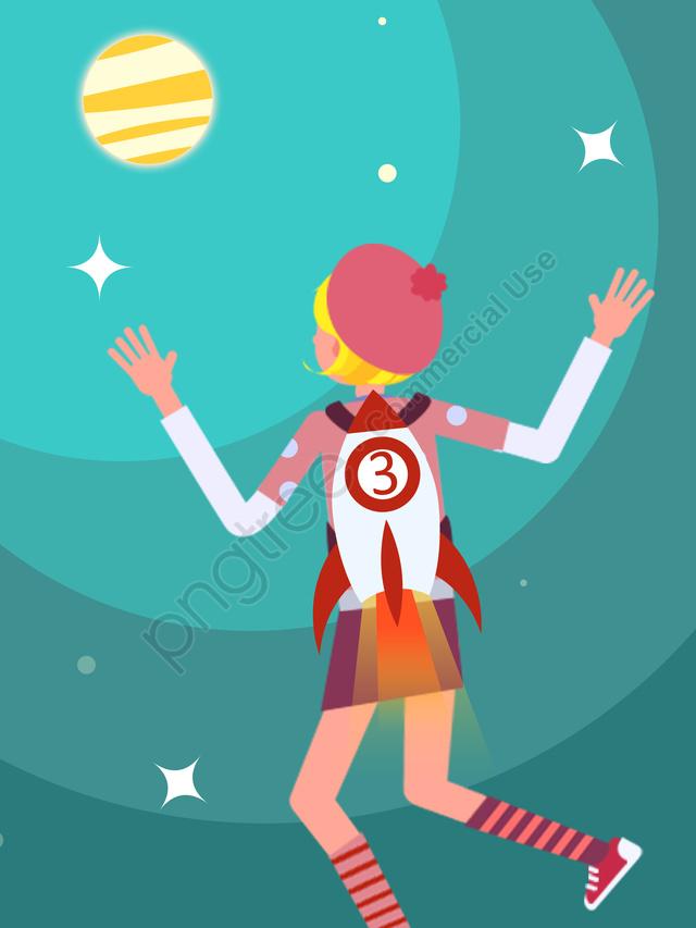 宇宙漫画ベクトル子供イラストを飛んでいるロケットを着ている少女, サイエンスフィクション, ロケット, 少女 llustration image