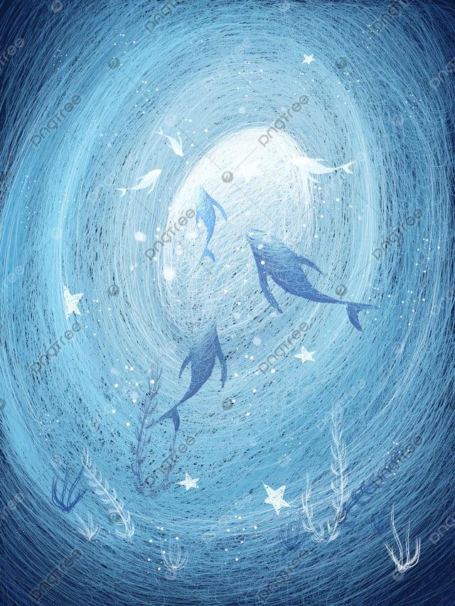 Apabila Laut Biru Lihat Gambaran Paus Sistem Penyembuhan Yang Indah Lukisan Gegelung, Lihat Ikan Paus Ketika Laut Biru, Cantik, Sistem Penyembuhan llustration image