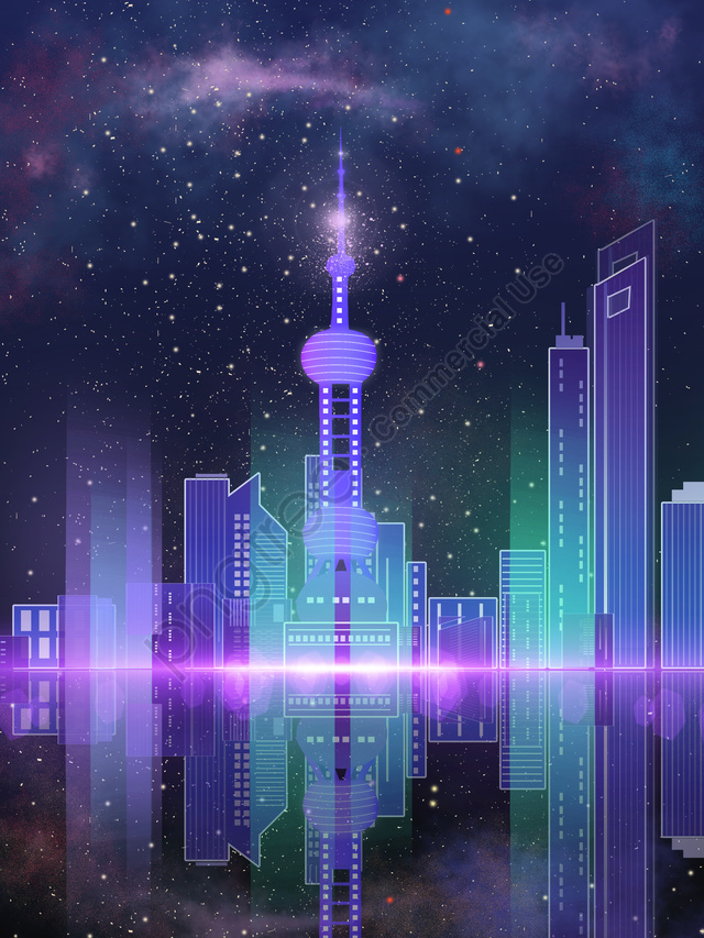 Impression shanghai oriental pearl gradient city night starry sky, 上海, オリエンタルパール, バナー llustration image