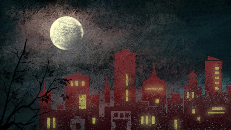 आधी रात शहर चाँद जंगल, स्केच, चित्रण, सजावटी पेंटिंग llustration image