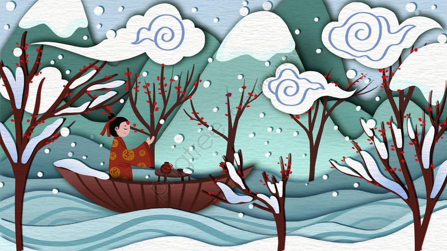Thuật Ngữ Mặt Trời Tuyết Phong Cách Trung Quốc Cảnh Cổ Xưa Cắt Giấy Minh Họa, Thuật Ngữ Mặt Trời, Tuyết Rơi Dày, Nhân Vật Cổ đại llustration image