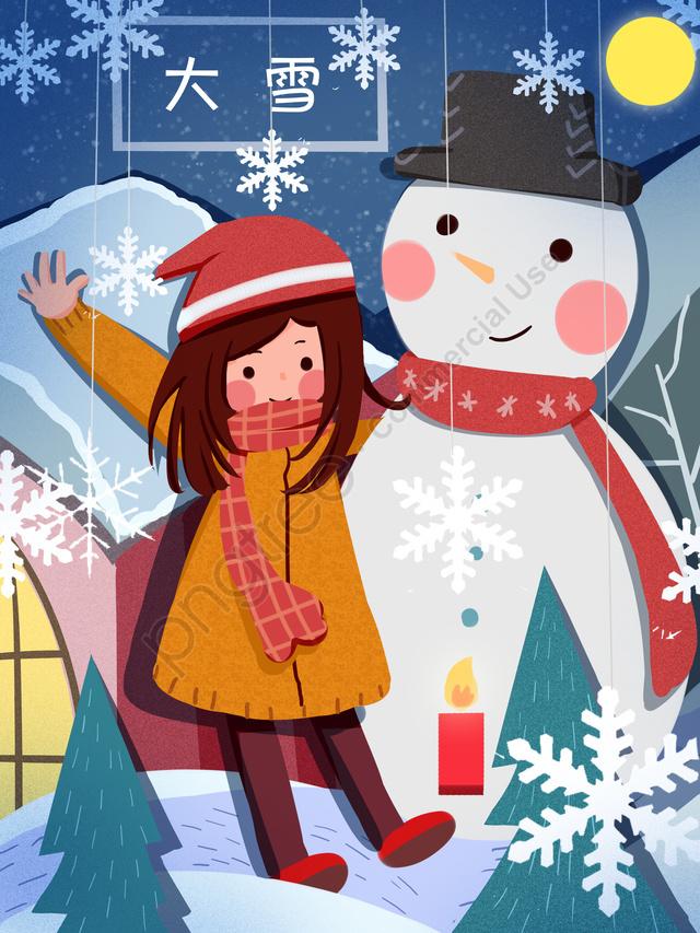 눈사람 만화 귀여운 소녀 일러스트 레이션, 태양 용어, 폭설, 종이 컷 바람 llustration image