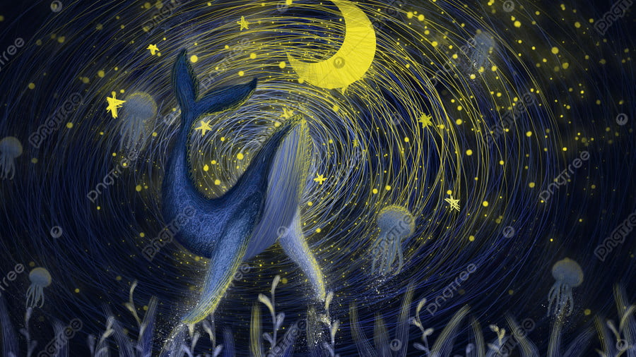 The coil is cured by a whale under wonderful starry sky, Starry Sky, Coil, Cure llustration image