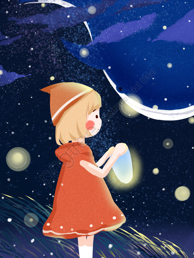 Starry Sky With Little Girl And Whale Healing Warm Illustration, Starry Sky, Wallpaper, Whale llustration image