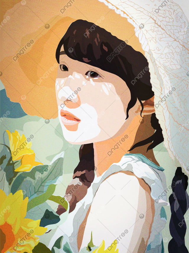 Girls Beauty Skin Diary Flower Making Tea, Teenage Girl, Beauty, Chrysanthemum llustration image