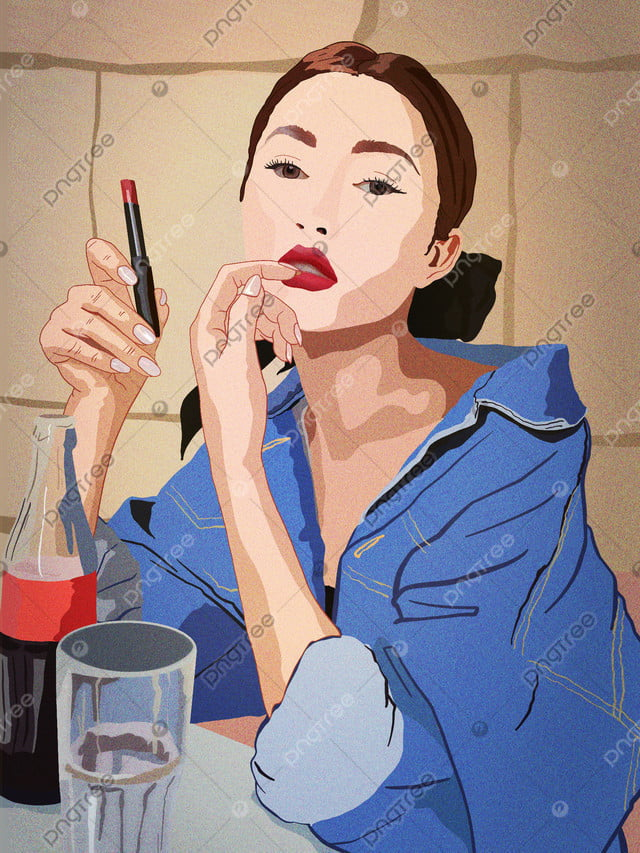 Girls beauty skin diary denim jacket drink cola coated lipstick, Teenage Girl, Beauty, European Beauty llustration image