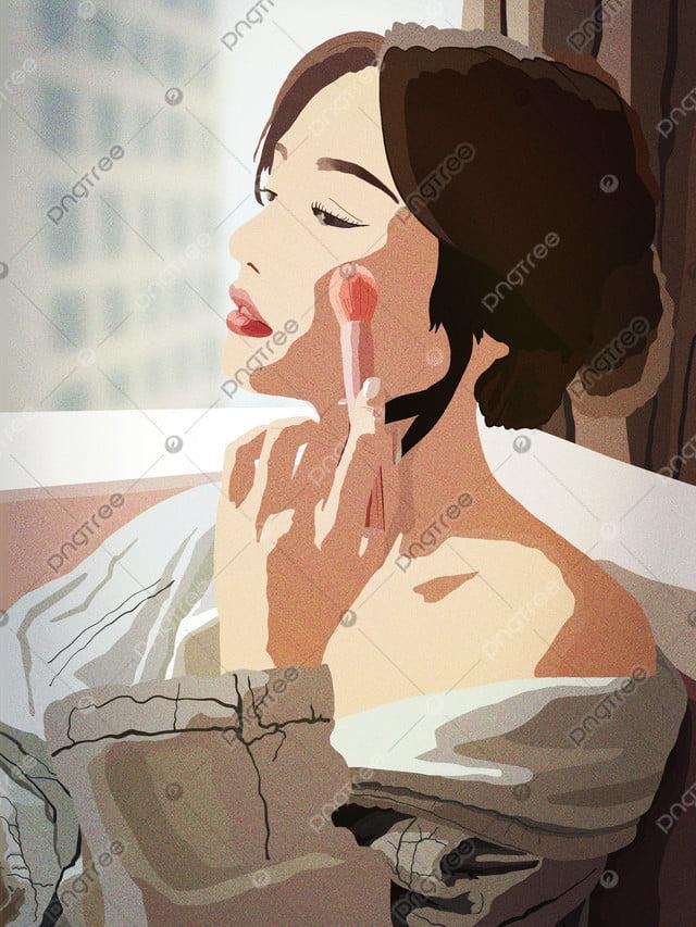 少女の美肌日記の美しさは、自宅でリアルです。, 10代の少女, 美しさ, 化粧 llustration image