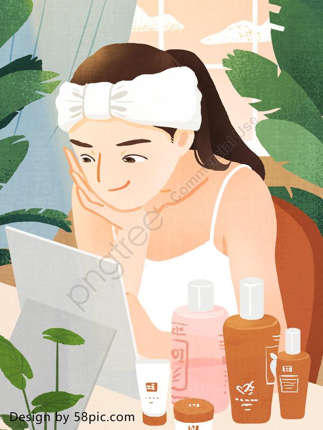 女の子のスキンケア日記は美しくてオリジナルの手描きのイラストになるでしょう, 10代の少女, スキンケア日記, スキンケア llustration image