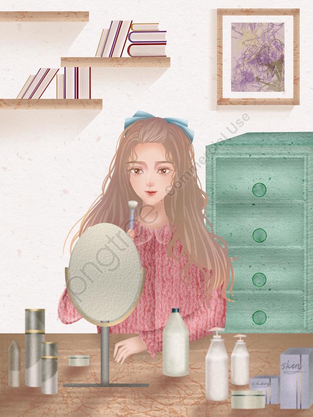 Girls skin beauty diary texture realistic illustration, Teenage Girl, Skin Care, Make Up llustration image