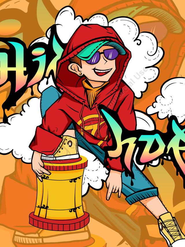 Tendência Da Moda Hip Hop Hip Hop Dos Desenhos Animados Ilustração Legal, Maré, Tendência, Comic llustration image