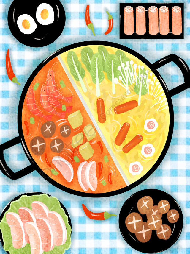 Watercolor Style Original Hot Pot Gourmet Illustration, Watercolor, Food, Hot Pot llustration image