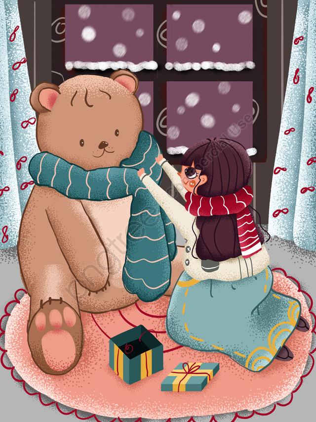 테디 베어 스카프주고 눈이 오는 겨울 안녕하세요 소녀, 겨울, 소녀, 눈 llustration image