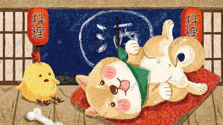 И ветер продает симпатичный рисунок катушки Шиба ину, ветер, Японский стиль, Pet llustration image