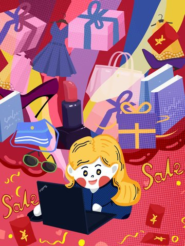 Double 12 shopping spree creative illustration, 12.12, December 12, Shopping Spree illustration image