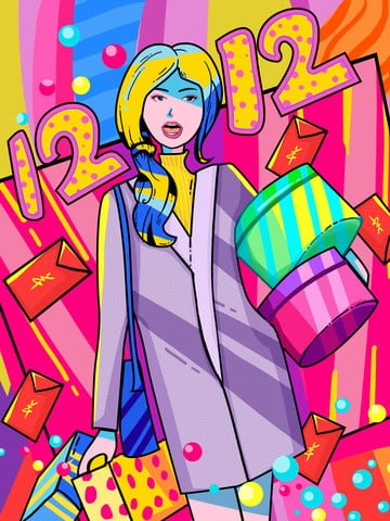 Double 12 crazy shopping creative illustration, 12.12, Double 12, Shopping illustration image