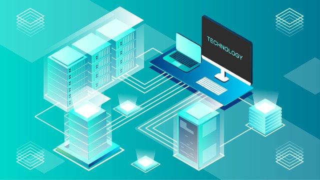 2.5d blue green breathable smart technology vector illustration, 2.5d, 25d, Blue-green illustration image