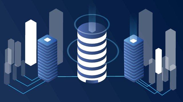 2.5d technology futuristic blue city vector illustration, 2.5d, Technology Future, Bright Blue illustration image