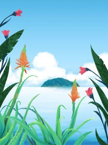 छोटे ताजा मुसब्बर पानी के रंग का द्वीप चित्रण चित्रण छवि