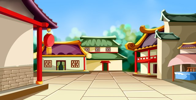 따뜻한 색상 골동품 건물 고 대 거리 그림 그림 이미지 일러스트레이션 이미지