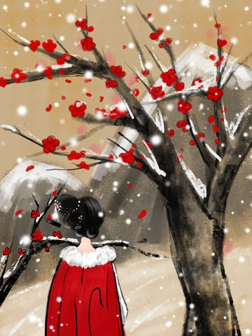 Ancient winter snowy day llustration image