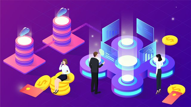 2.5d data finance technology office investment gradient illustration, App Splash Screen, Startup Page, Mobile Phone With Picture illustration image