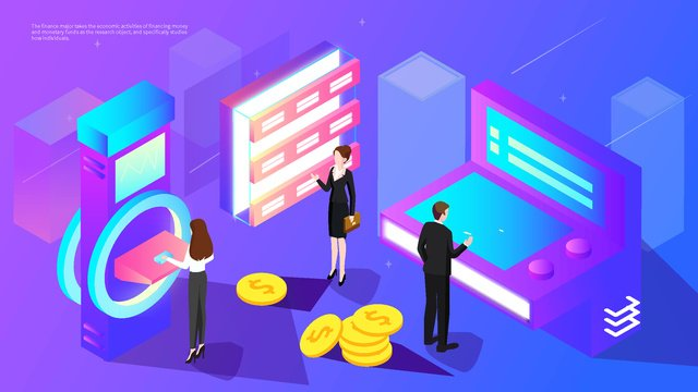 2.5d map financial technology office finance investment gradient illustration, App Splash Screen, Startup Page, Mobile Phone With Picture illustration image