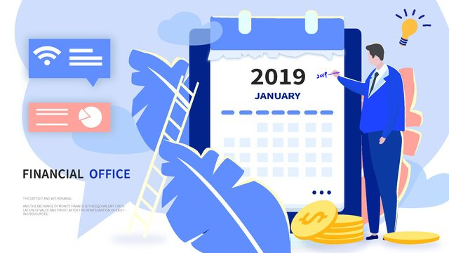 Flat wind business office financial calendar 2019 vector illustration, App Splash Screen, Startup Page, Mobile Phone With Picture illustration image