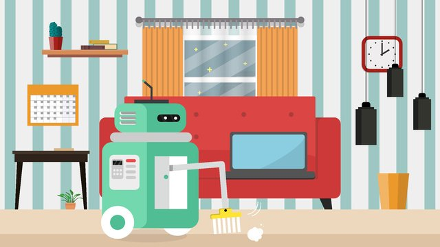Artificial intelligence intelligent cleaning robot, Artificial Intelligence, Cleaning Robot, Vector illustration image