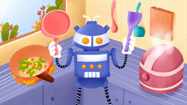 Artificial intelligence cooking robot illustration, Artificial Intelligence, Cooking Robot, Robot illustration image