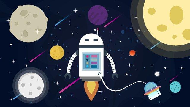 Искусственный интеллект робота освоения космоса Ресурсы иллюстрации