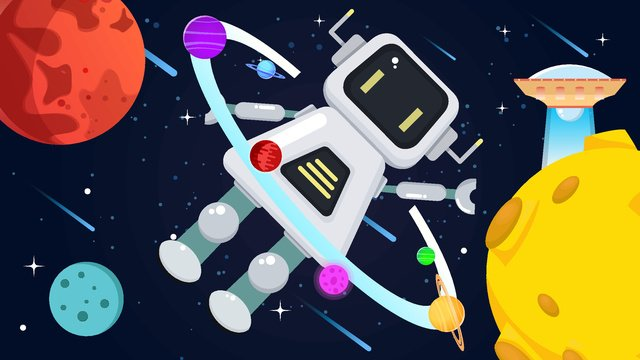 Artificial intelligence robot surrounded by stars, Artificial Intelligence, Robot, Planet illustration image