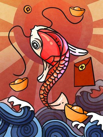 중국어 펭 시앙 루이 진 하오 싱 서핑 연꽃 잎 태양 전화 그림 일러스트 레이션 삽화 소재