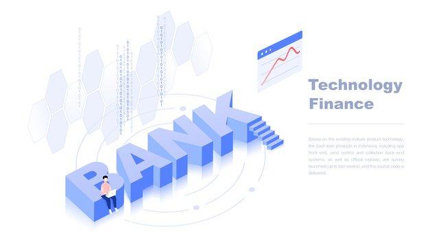 2.5d technology finance word bank art illustration, Bank, Technology, Financial illustration image
