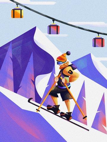 Winter ski sport mountain climbing gradient illustration vector noise, Banner, Splash Screen, H5 illustration image
