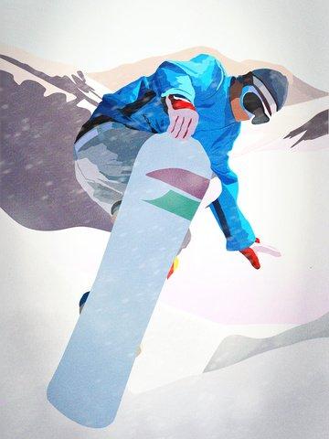 美しい冬のハンサムなスノーマウンテンスキーエクストリームスポーツ イラスト素材 イラスト画像
