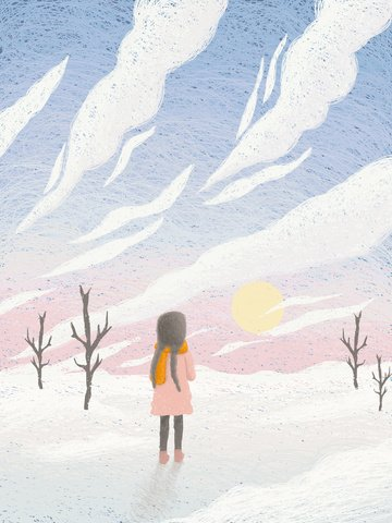 Beautiful dream winter cure coil painting, Beautiful, Dream, Winter illustration image