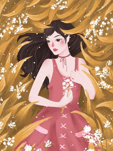 An illustration of a girl in beautiful winter flower, Beautiful Winter, Flower, Teenage Girl Illustration illustration image