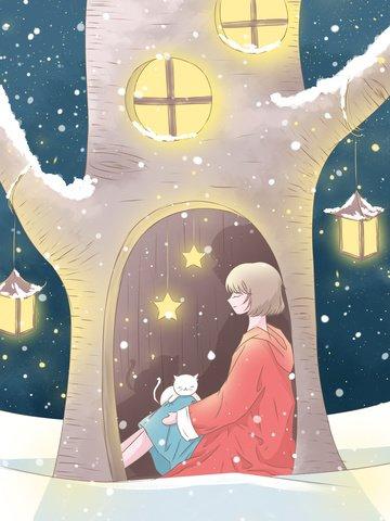 女の子と猫の冬の雪の中で木の穴に隠れての美しい冬のイラスト イラスト素材