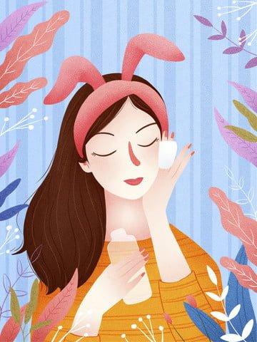 작은 신선한 스킨 케어 뷰티 소녀 그림 삽화 소재