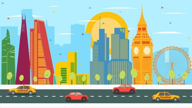 Contrast color london landmark building, Big Ben, London Eye, Elizabeth Tower illustration image